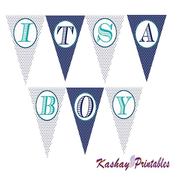 Nautical Baby Shower Banner | Kashay.co.uk