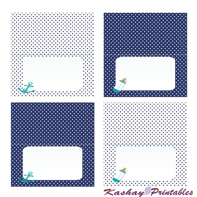 Nautical Baby Shower Buffet Cards | Kashay.co.uk