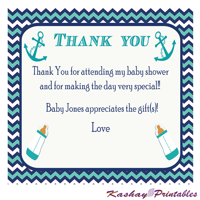 Nautical Baby Shower Thank You Card Kashay Printables