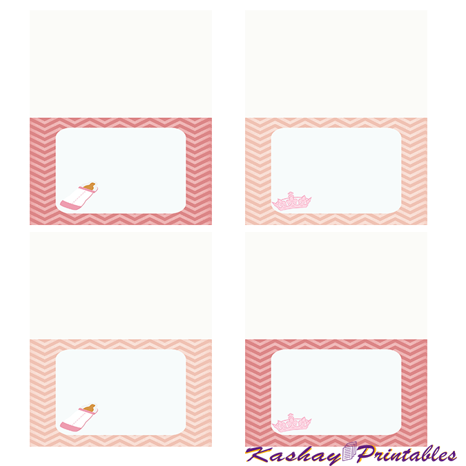 Princess Baby Shower Buffet Cards | Kashay.co.uk
