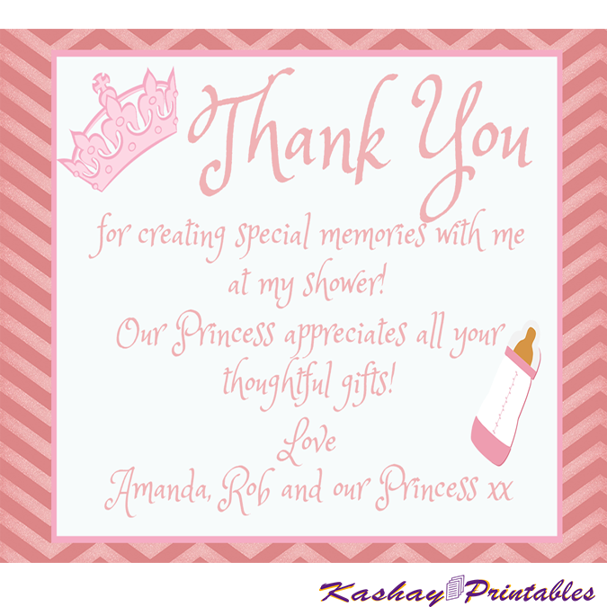 Princess Baby Shower Thank You Card Kashay Printables