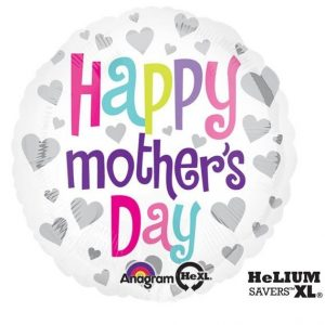 Happy Mother's Day Silver Hearts Foil Balloon | Kashay.co.uk